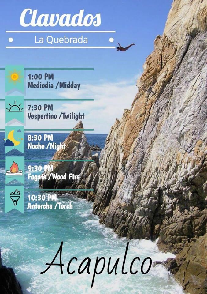 Horarios de los saltos de los clavadistas de Acapulco
