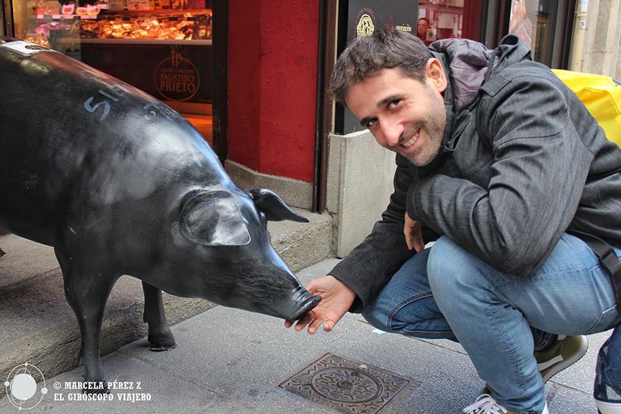 Caminando por las calles del centro de Segovia con una compañía peculiar