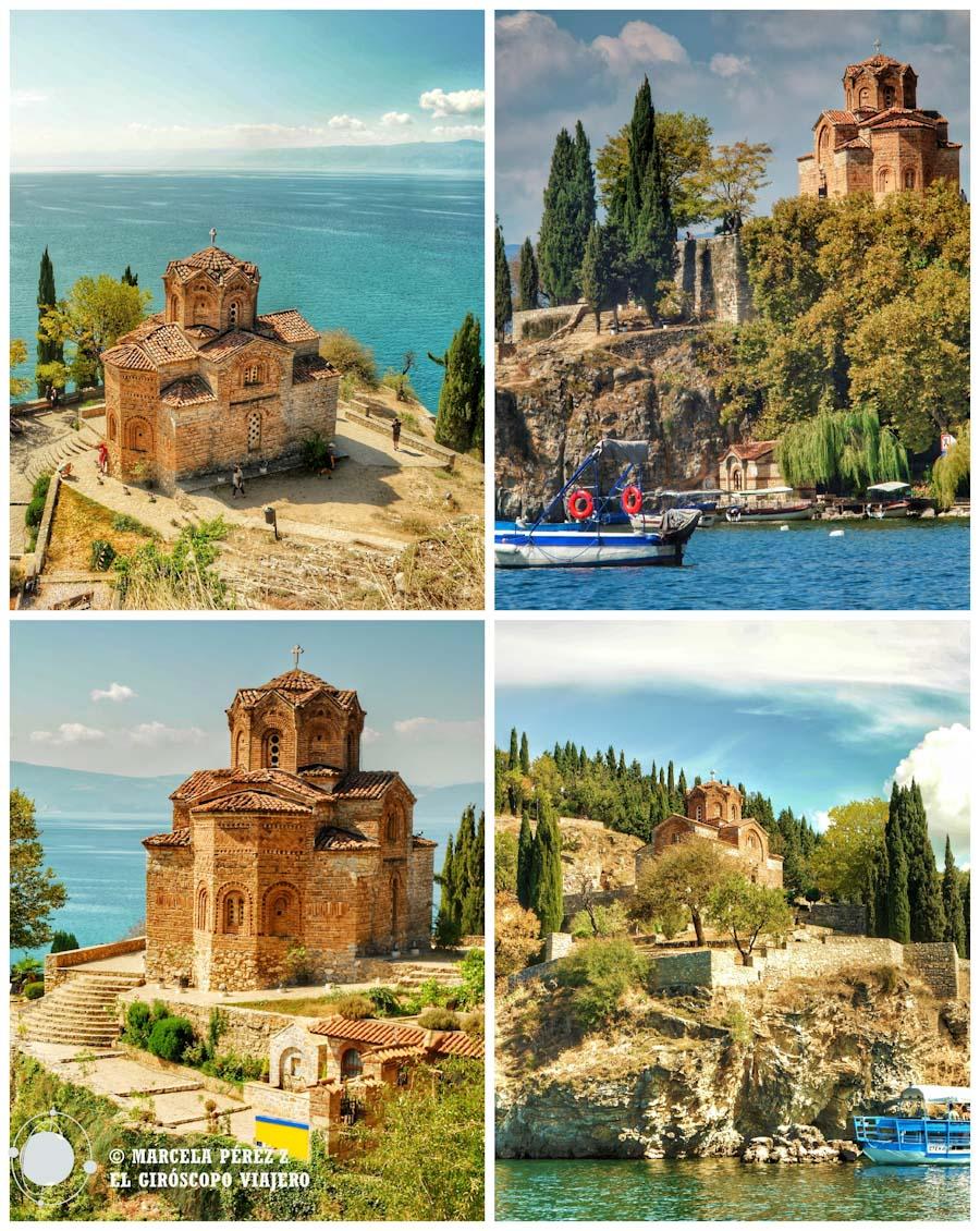La protagonista de las postales de Ohrid es la iglesia de San Juan Kaneo ©Marcela Pérez Z.