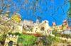 Palacios y castillos en el Parque Nacional de Sintra en Portugal