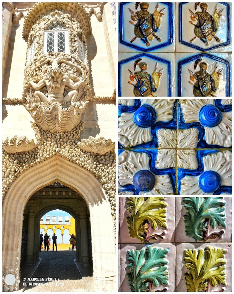 Tritón en en la puerta de entra al balcon y motivos de cerámica al cruzal el portal ©Marcela Pérez Z.