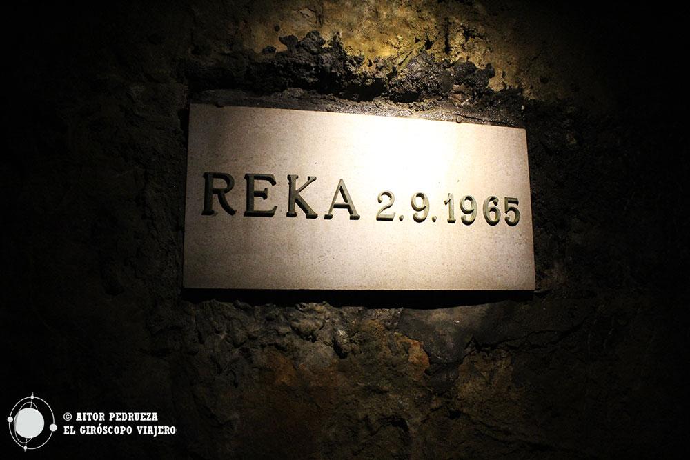 Nivel que alcanzó la inundación de la cueva de Skocjan en 1965