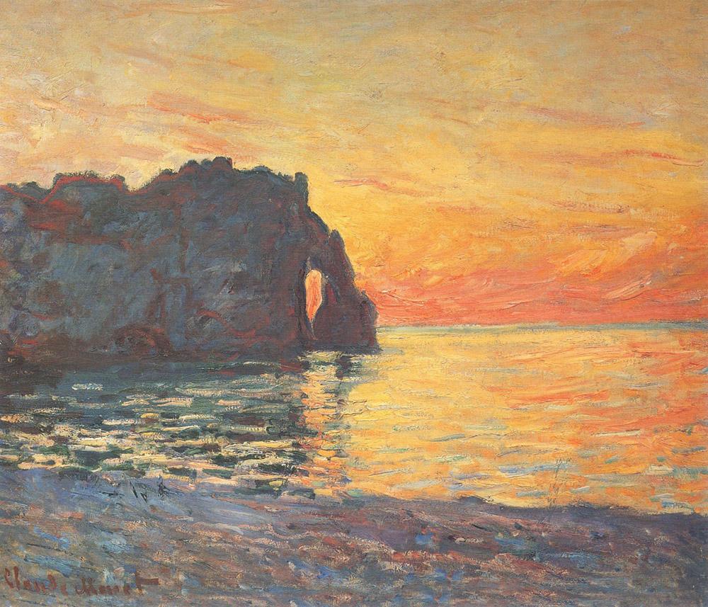 Acantilados de Etretat, atardecer, obra de Monet