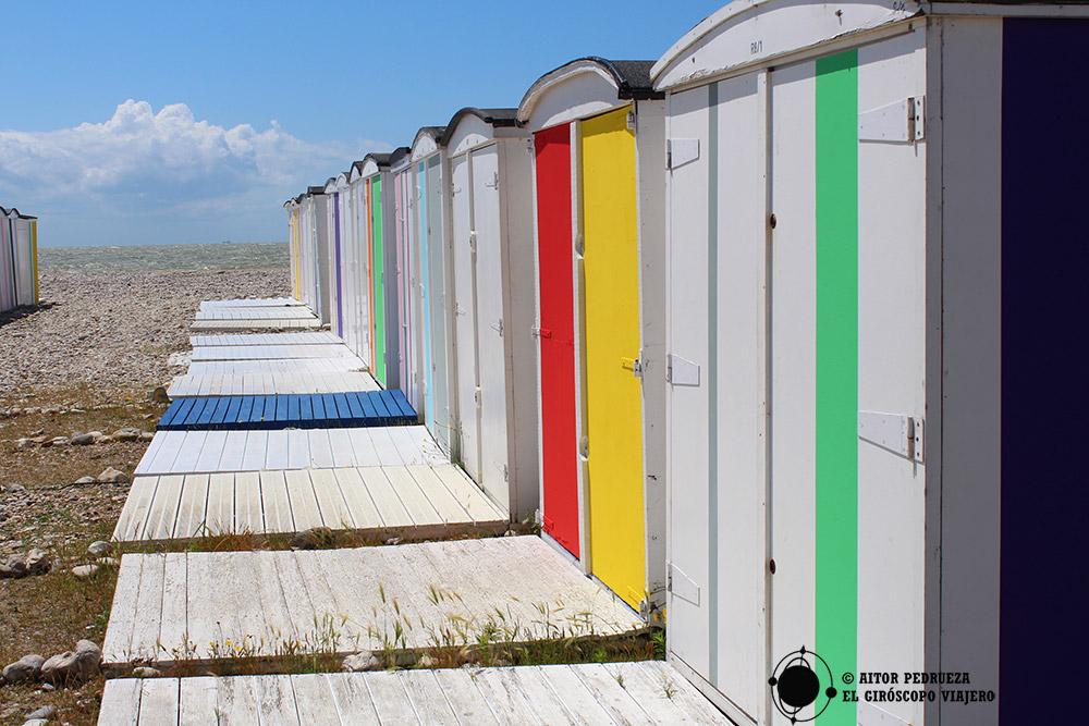 Casetas de baño en la playa de Le Havre