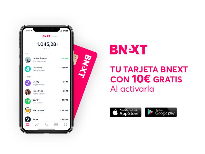 Descuento de 10€ de la tarjeta Bnext, ideal para sacar dinero en el extranjero