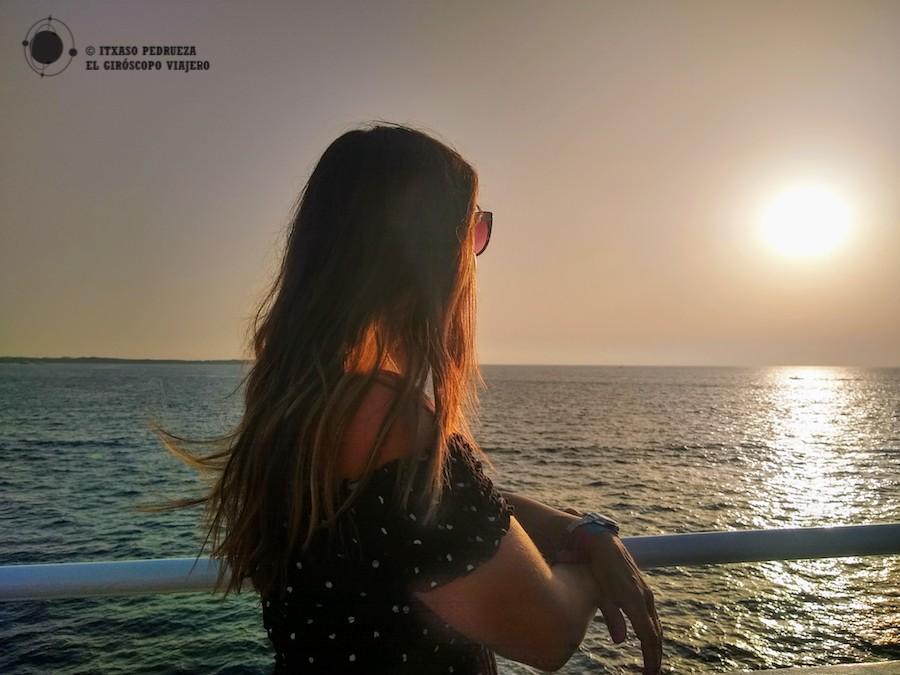 Atardecer en el ferry de Ibiza a Formentera