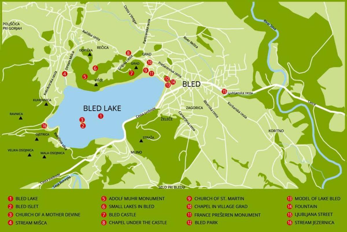 Mapa del lago de Bled en Eslovenia