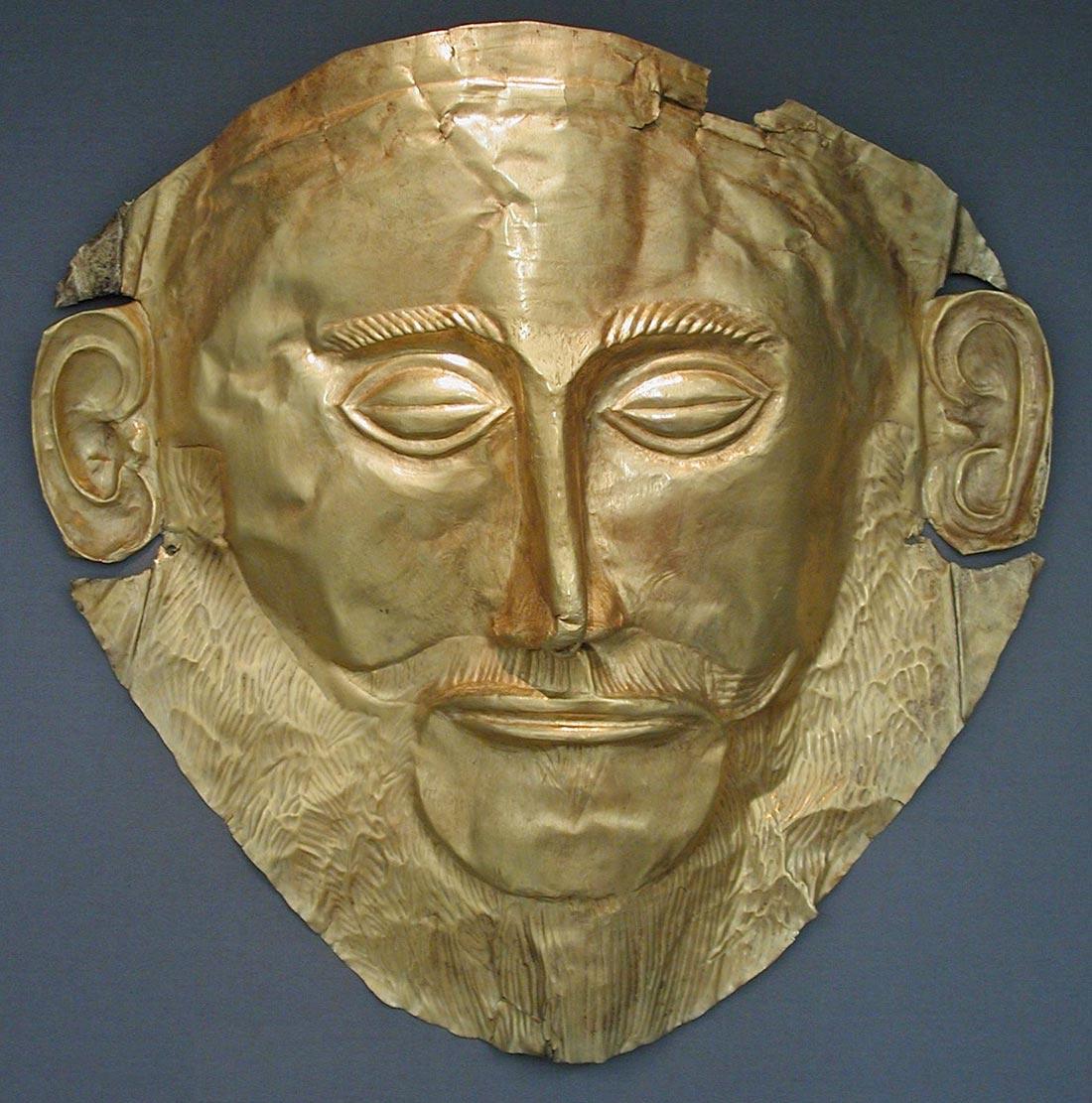 Máscara de Agamenón en el Museo Arqueológico Nacional de Atenas