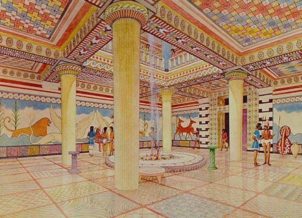 Recreación del Megaron del palacio de Micenas