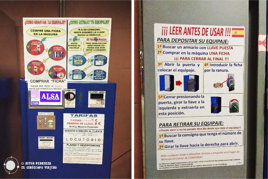 Consignas de la estación de autobús de Avenida América en Madrid