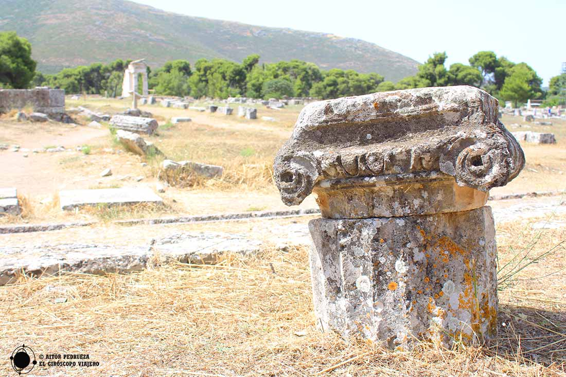Restos en el yacimiento de Epidauro en Grecia