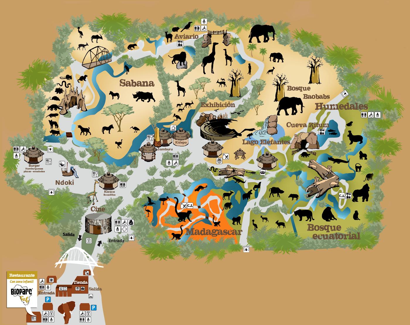 Mapa del Bioparc de Valencia