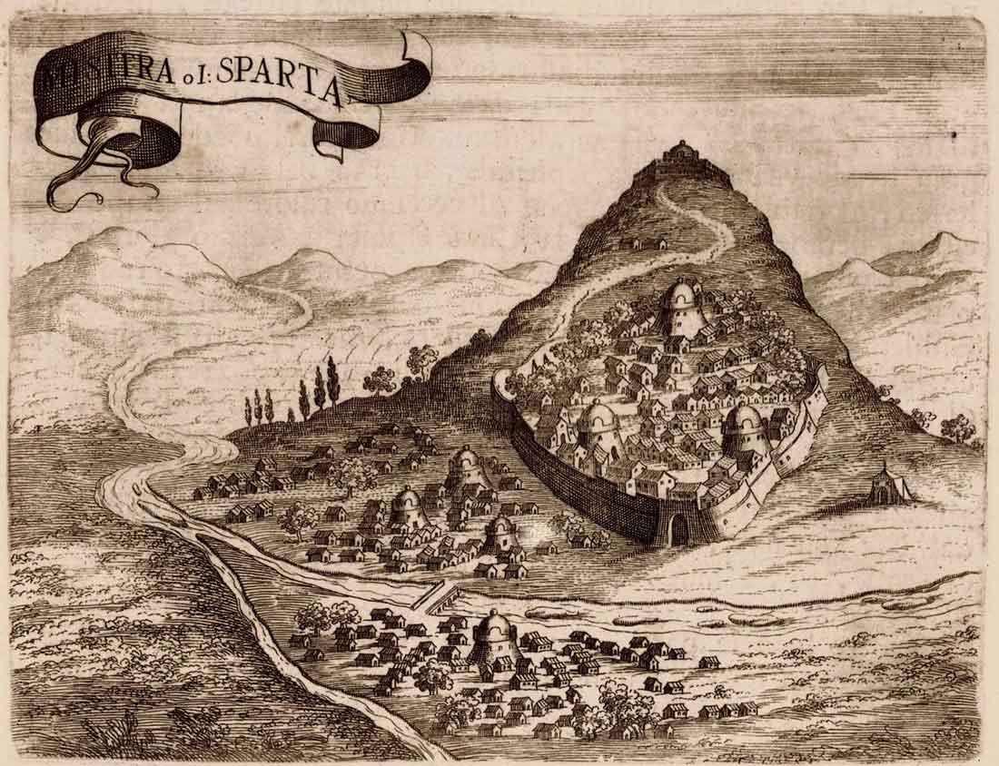 Grabado antiguo de la ciudad de Mystras