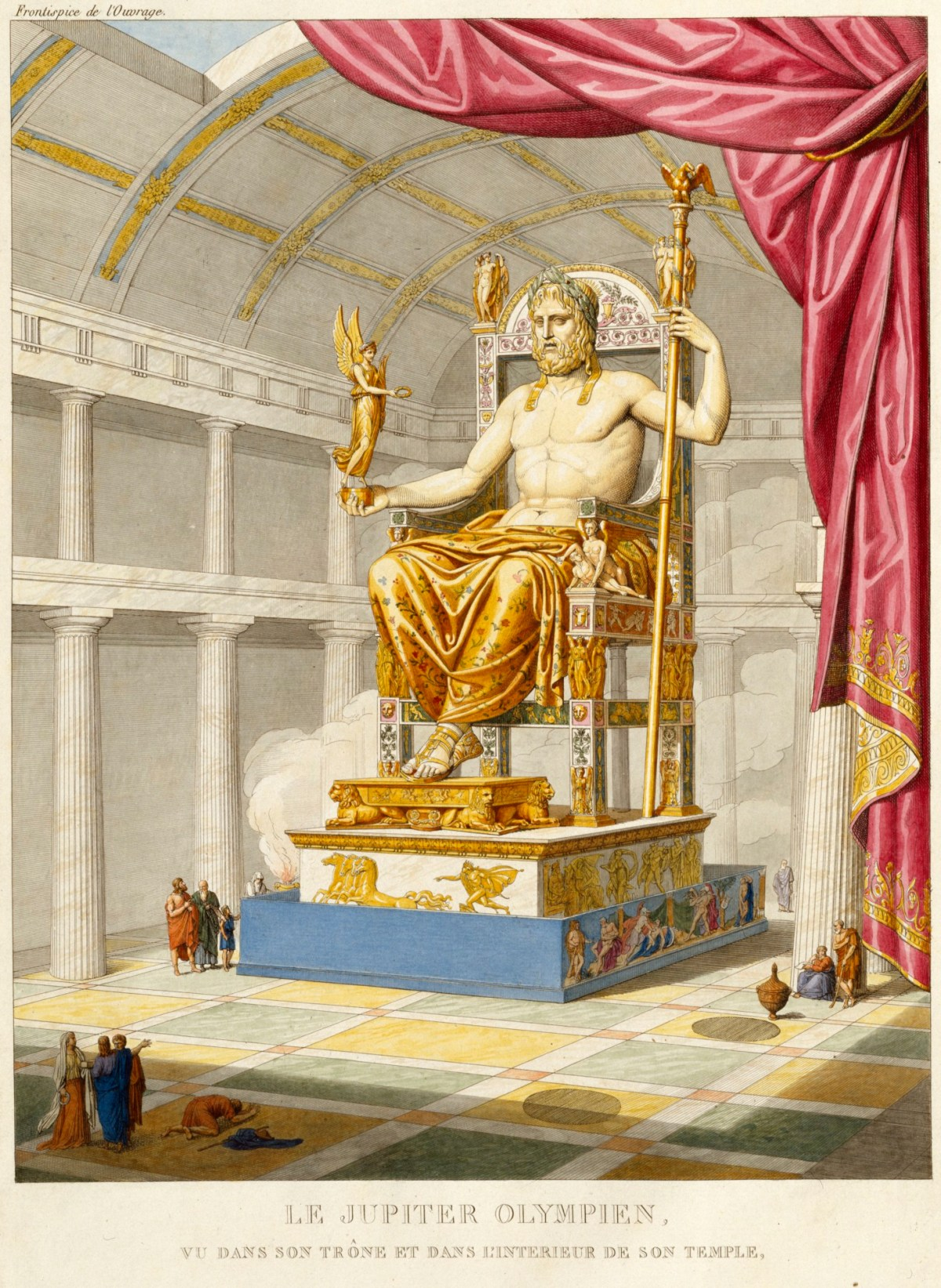 Grabado de la reproducción de la estatua de Zeus en Olimpia, obra de Antoine Chrysostome Quatremère de Quincy