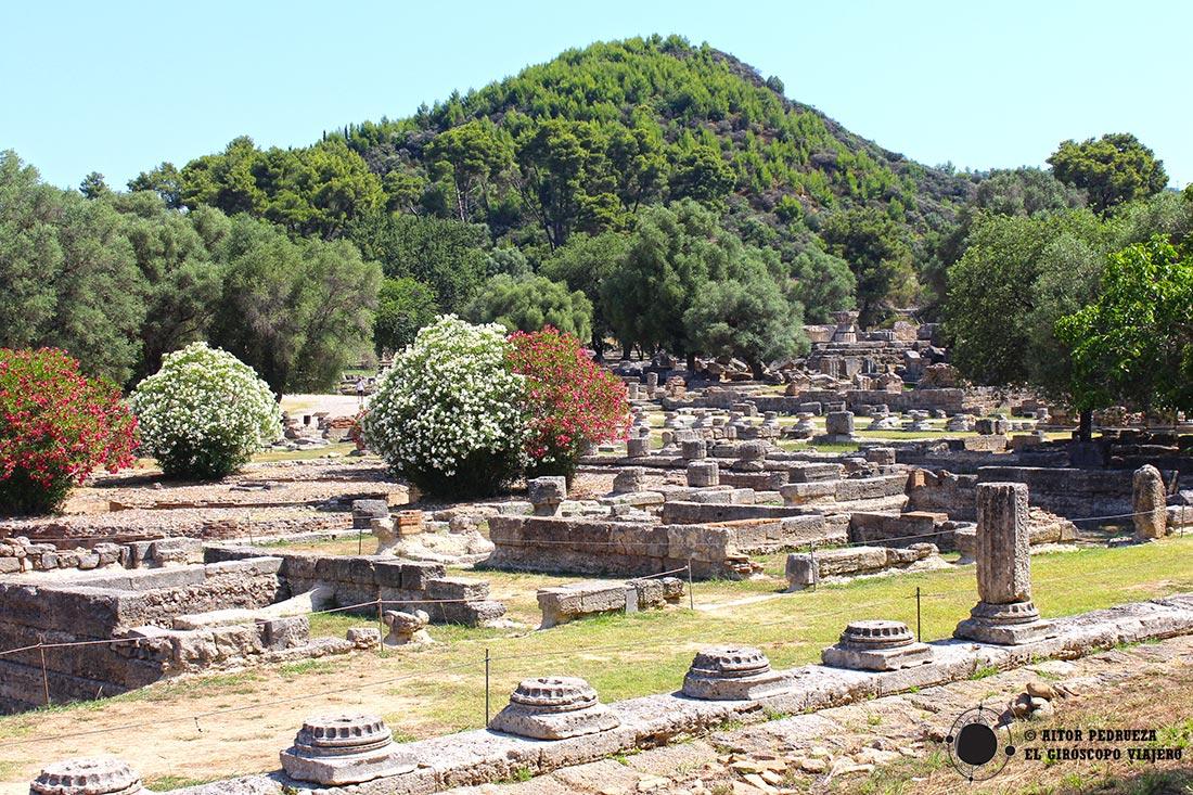 Panorámica del yacimiento de Olimpia en Grecia