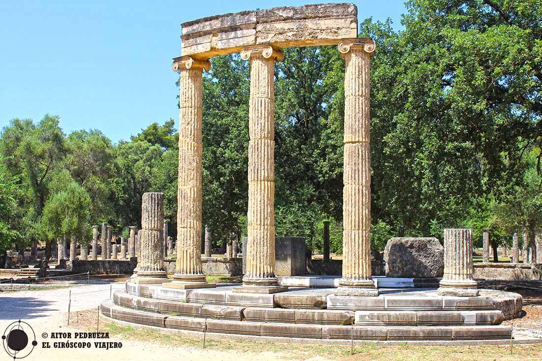 Edificio del Philippeion en el yacimiento de Olimpia - Grecia