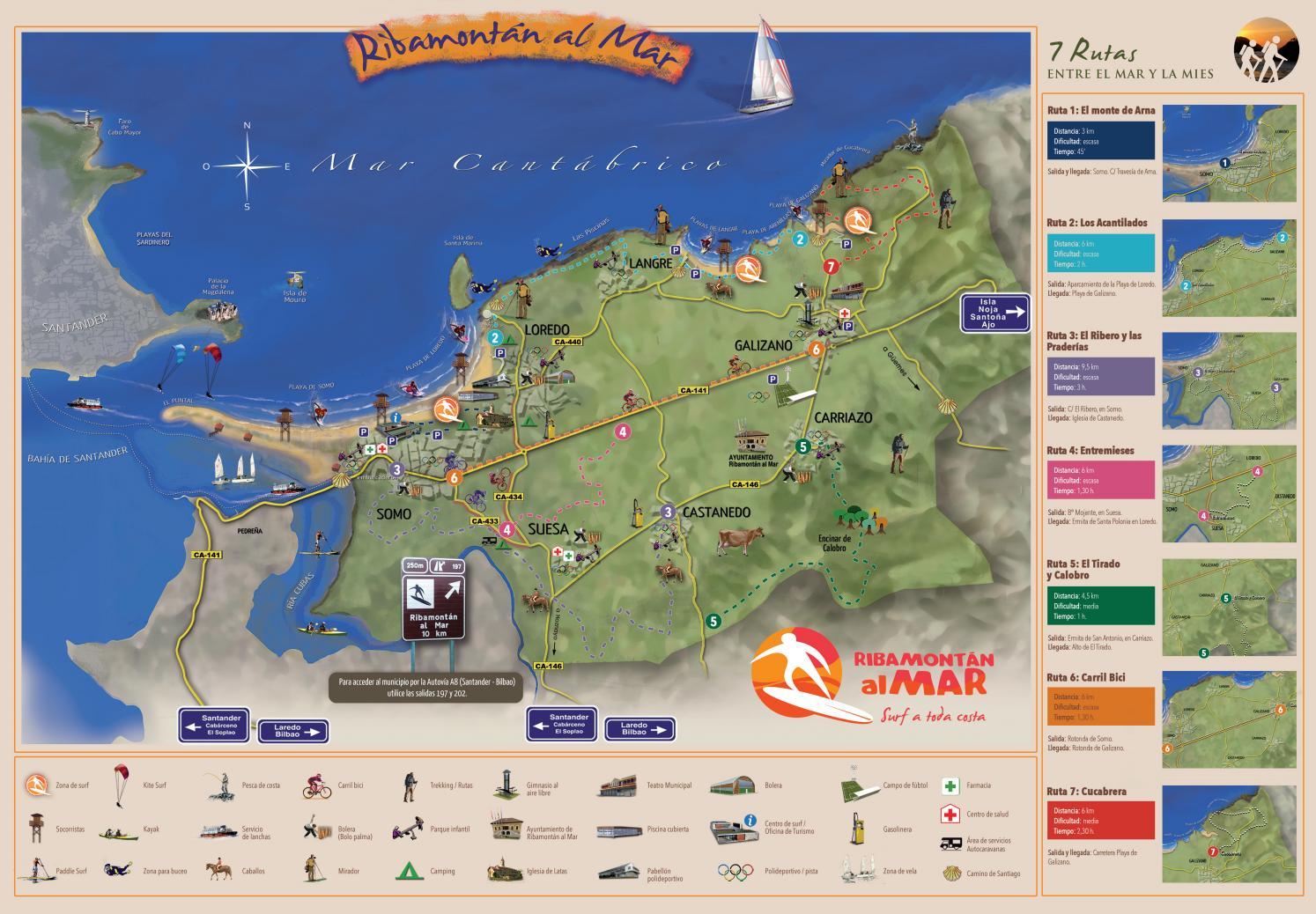 Mapa de Ribamontán al Mar