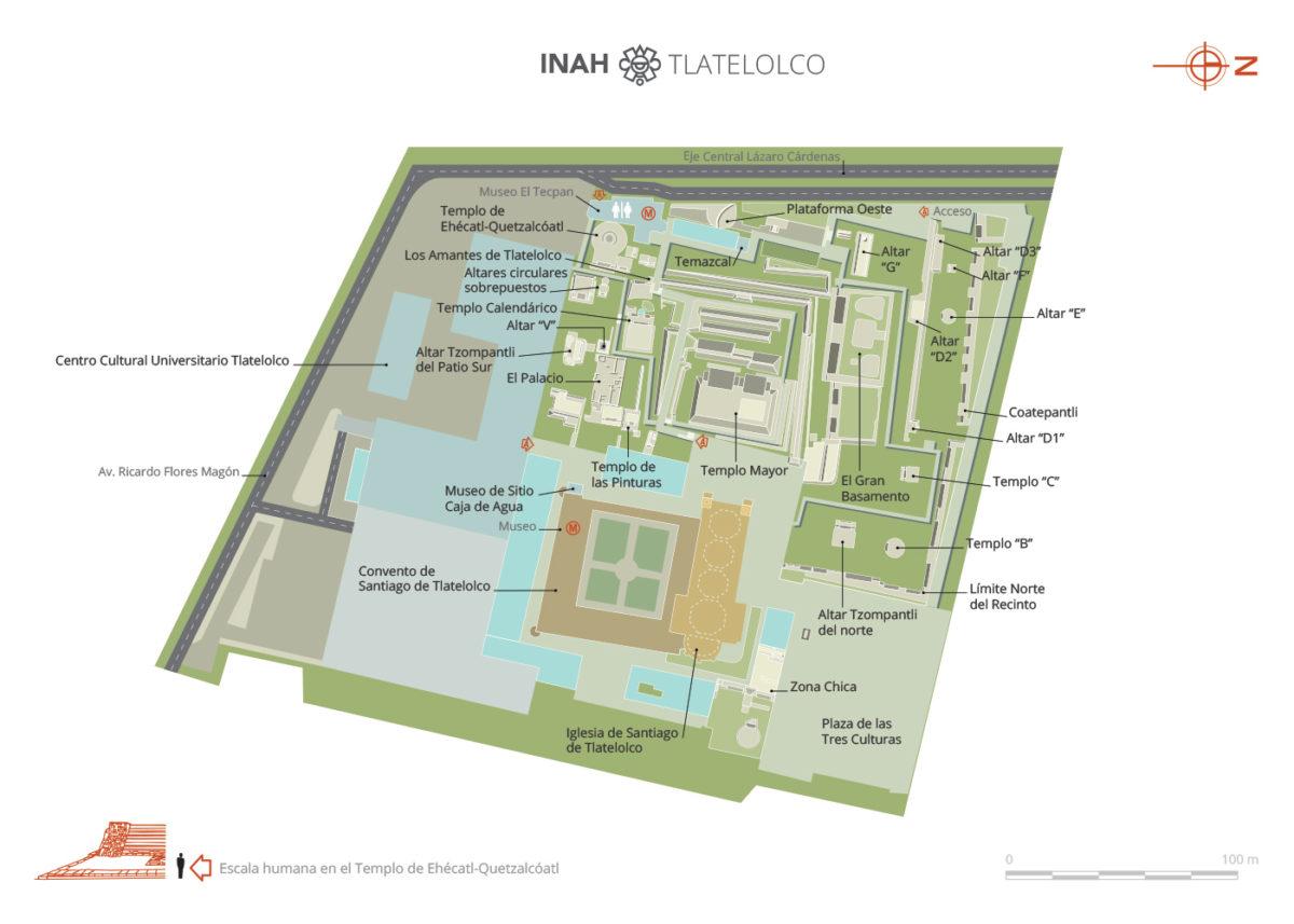 Mapa de las ruinas de Tlatelolco