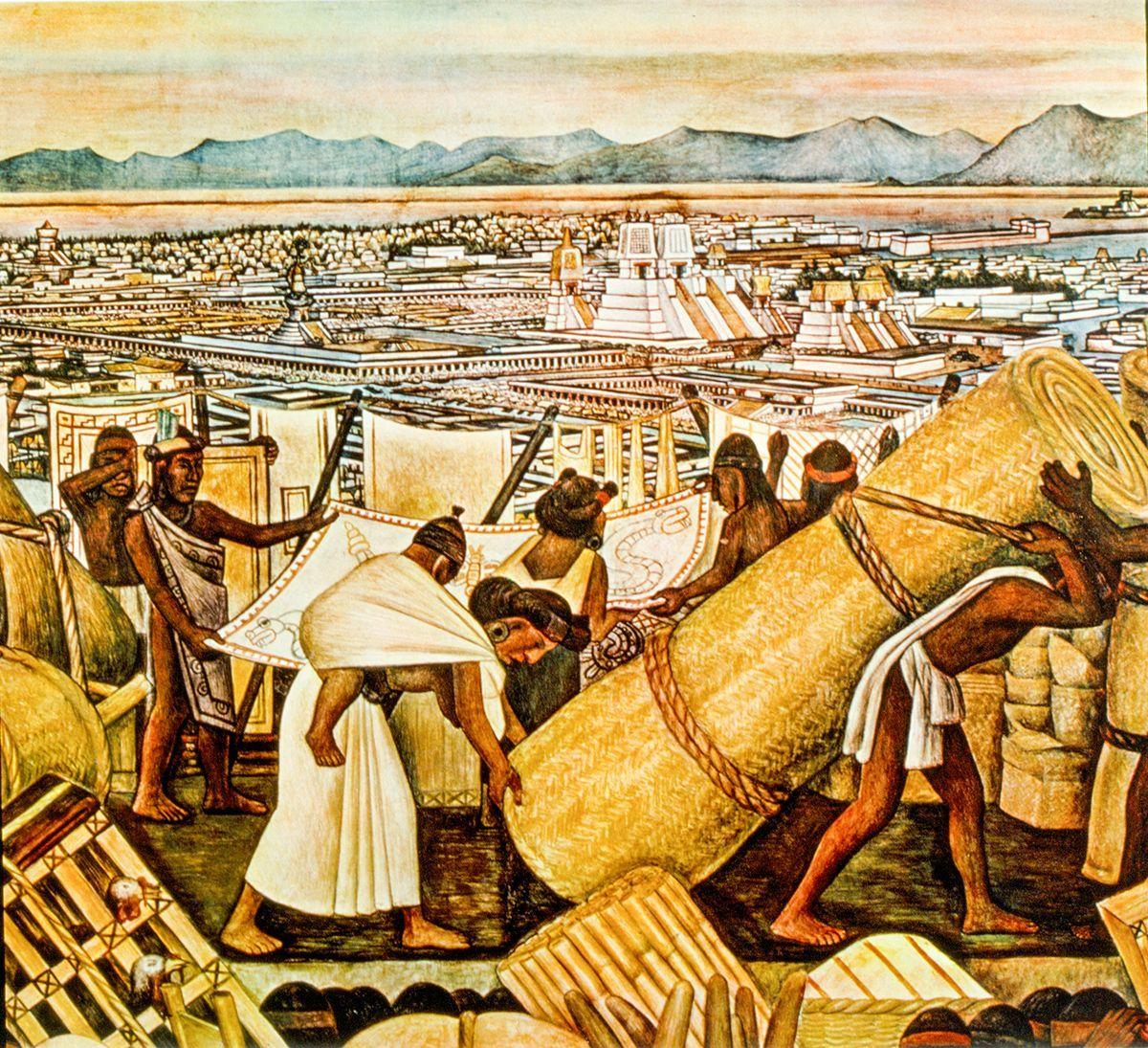 Mercado de Tlatelolco, con vista a Tenochtitlan, mural de Diego Rivera.