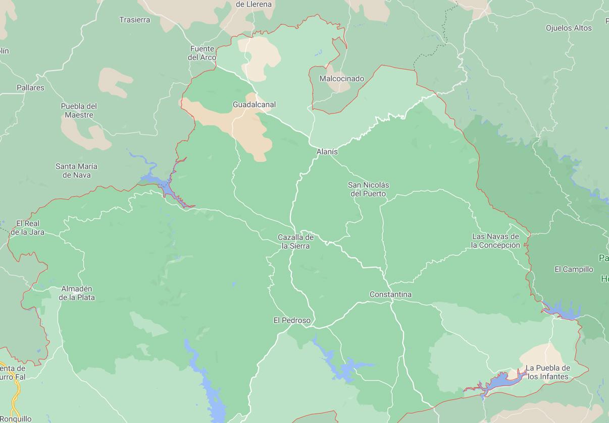 Mapa de la Sierra Norte de Sevilla