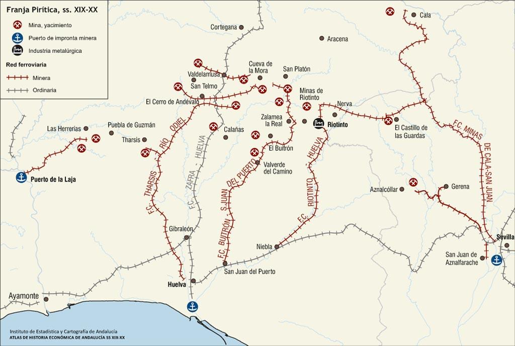 Mapa de los ferrocarriles mineros en la provincia de Huelva