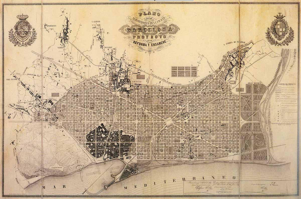 Mapa del plan Cerda para diseñar el Ensanche de Barcelona