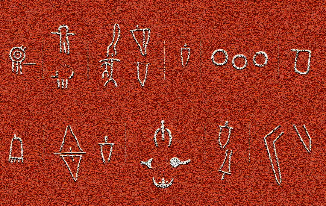 Algunos símbolos grabados o pintados en las losas del corredor del Dolmen de Soto