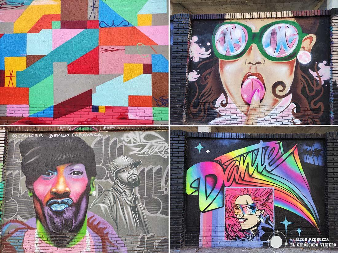 Conjunto de graffitis en la calle Espronceda