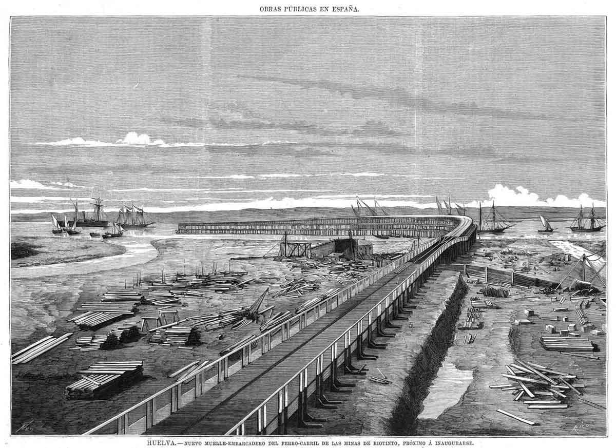 Grabado de la construcción del Muelle de Riotinto en Huelva