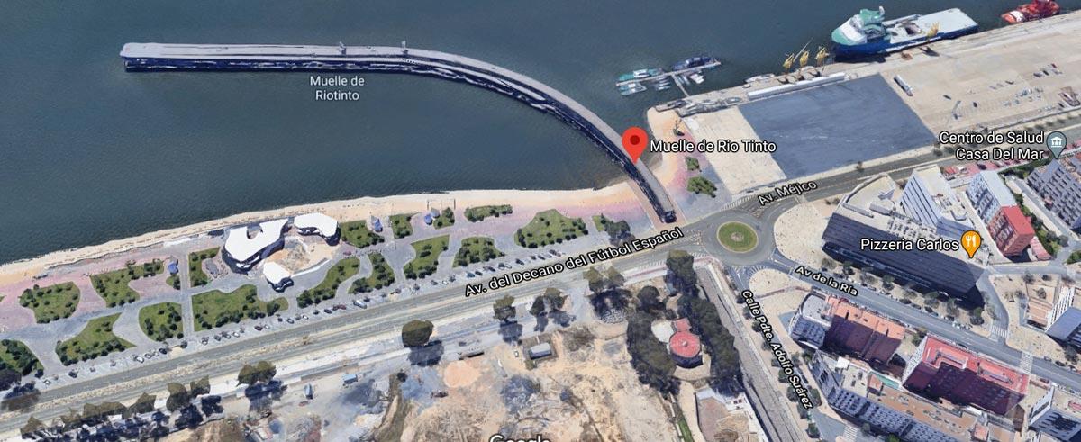 Vista satelital del Muelle de Rio Tinto