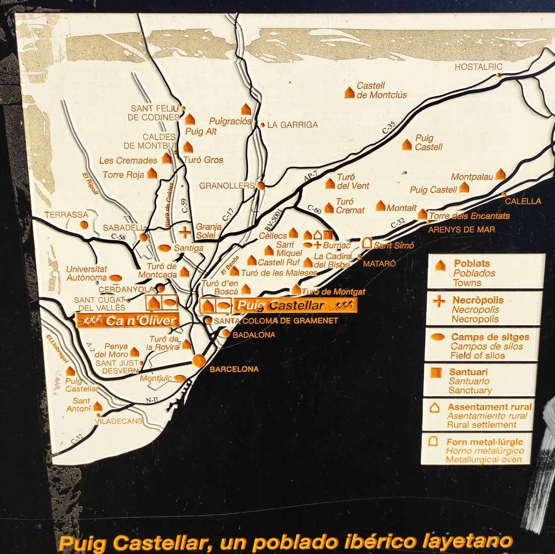 Mapa de los yacimientos íberos en Cataluña