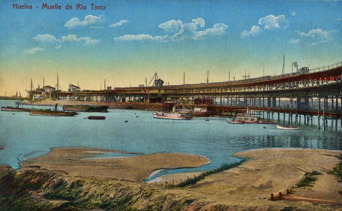 Postal del muelle de mineral Rio Tinto en Huelva.