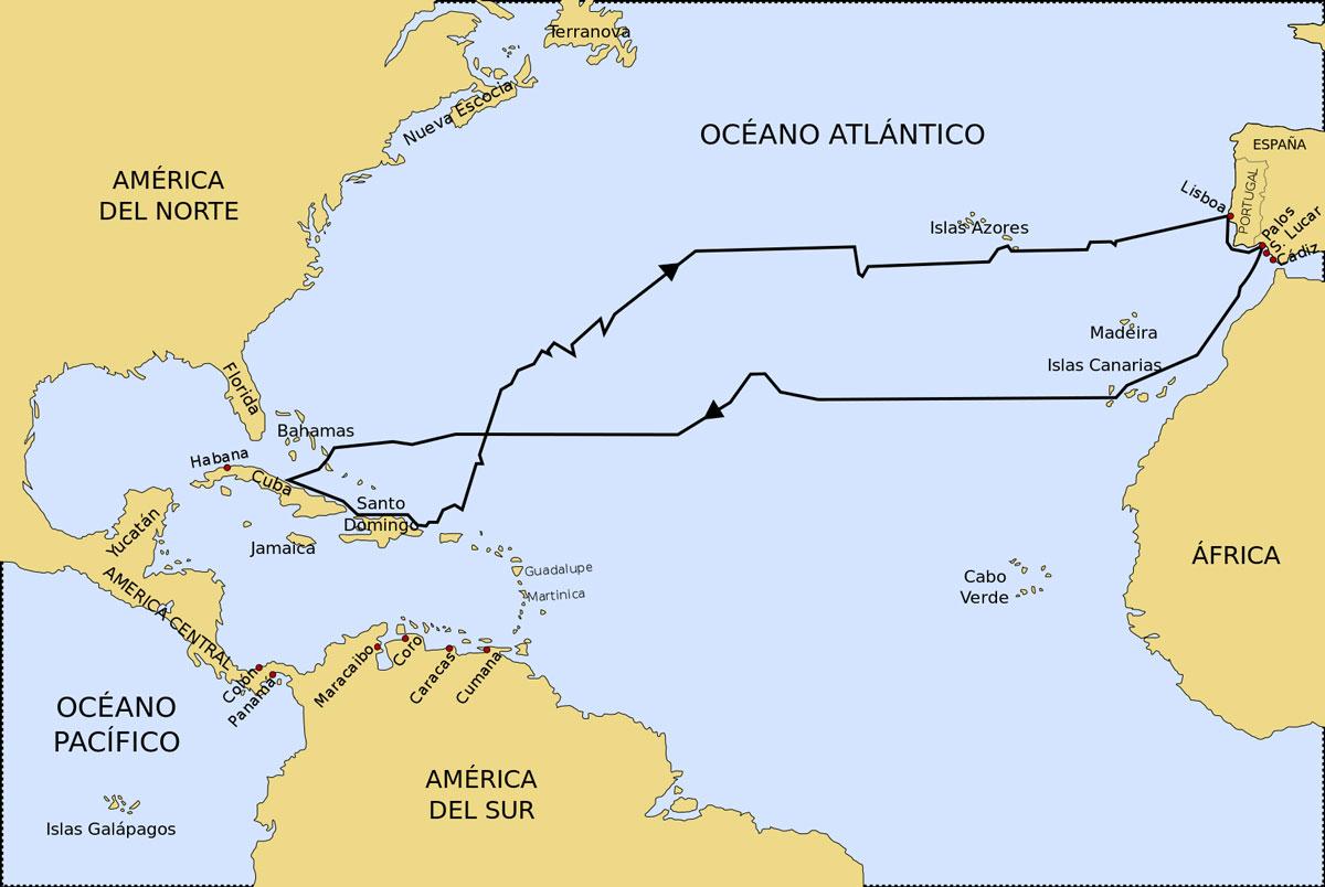 Ruta del primer viaje de Colón a América desde Palos