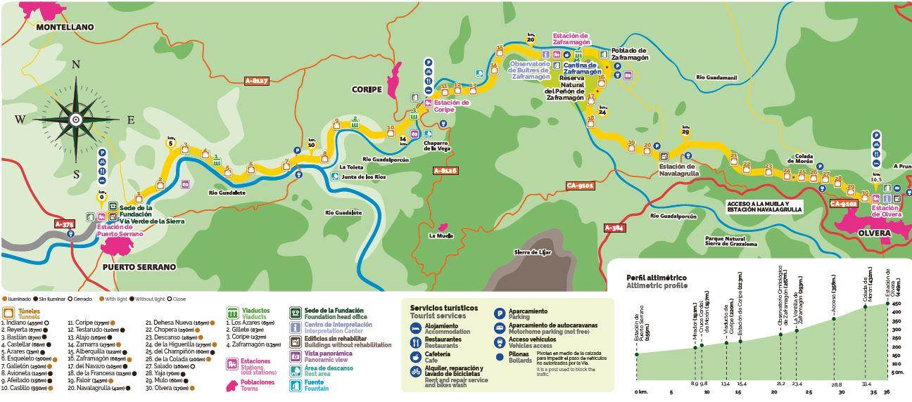 Mapa de la Vía Verde desde Puerto Serrano hasta Olvera