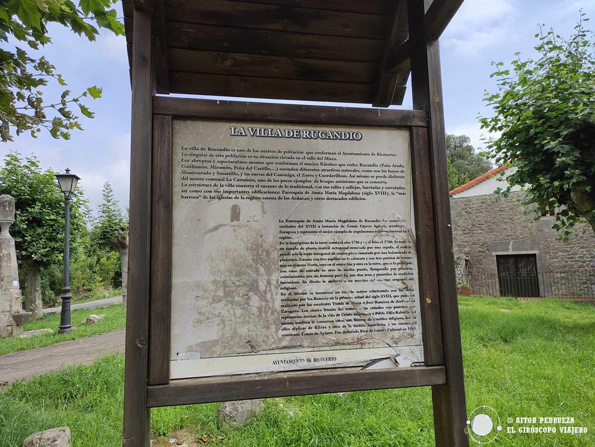 Panel con la historia de Rucandio